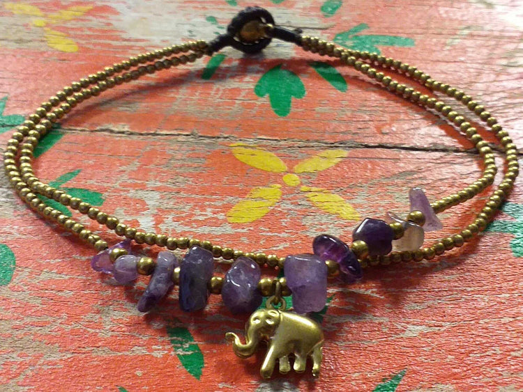 Elephant Stone Chip Anklet