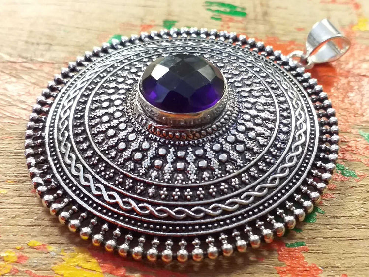 Faceted Stone Shield Pendant-Himalayan Trading Post Ltd