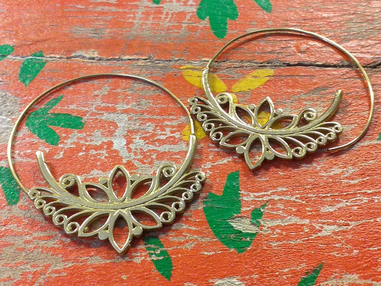 Lotus Circle Earrings