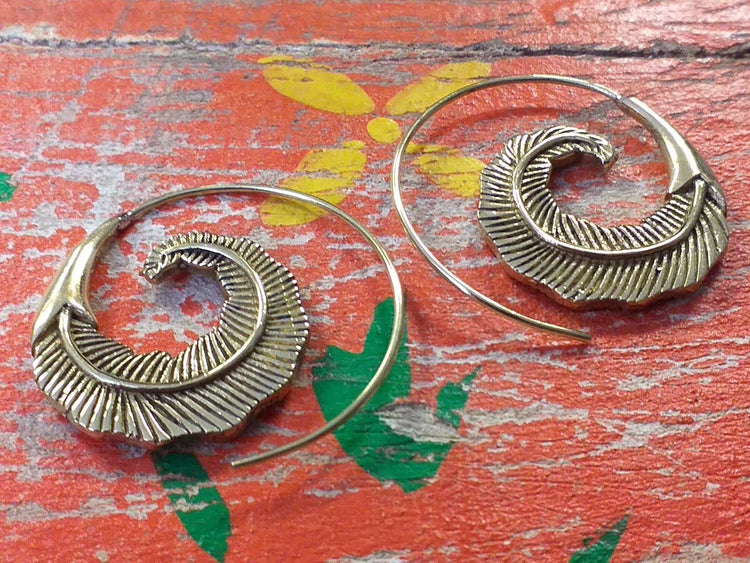 Single Feather Circle Earrings