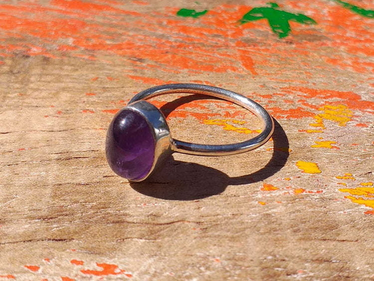 Sterling Amethyst Ring 10x8mm Size 7