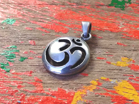 Sterling Cut-out Circle Om Pendant