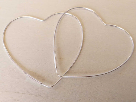 Sterling Heart Hoop Earrings-Himalayan Trading Post Ltd