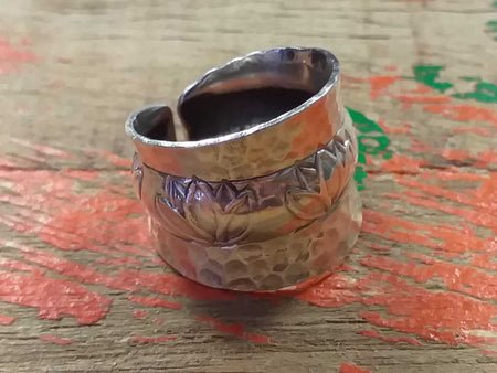 Sterling Lotus Pattern Ring-Himalayan Trading Post Ltd