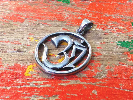 Sterling Circle Om Pendant