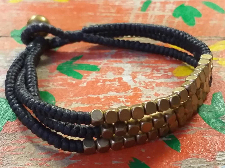 Triple Brass Bead Bracelet-Himalayan Trading Post Ltd