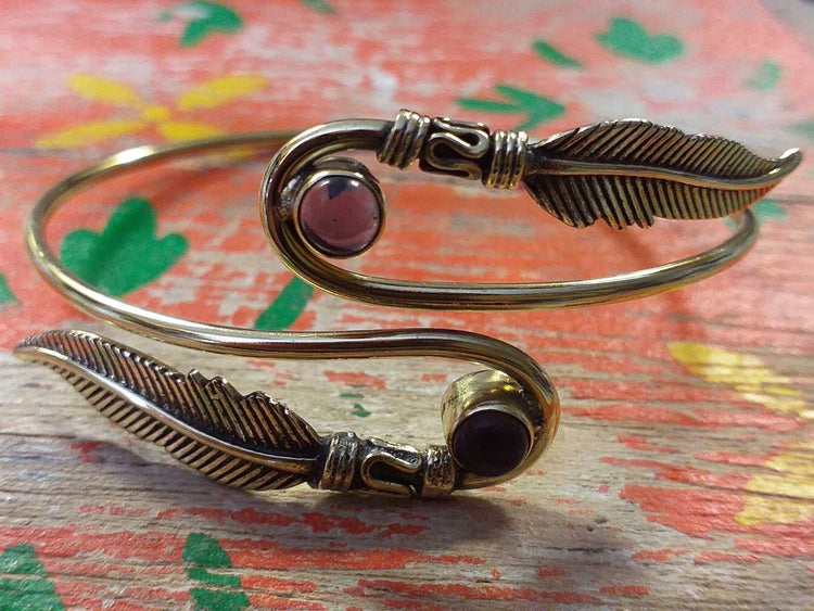 Two Feather Stone Bangle