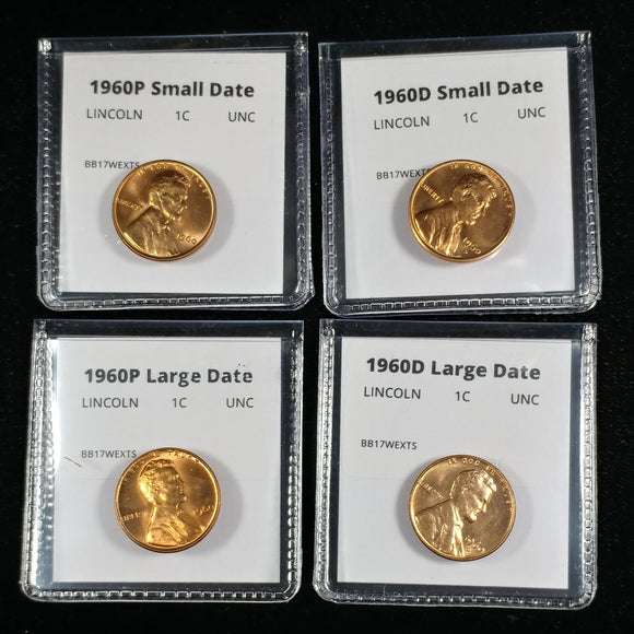 1960 P+D Lincoln Cent Four Coin Small and Large Date Penny Set - BU