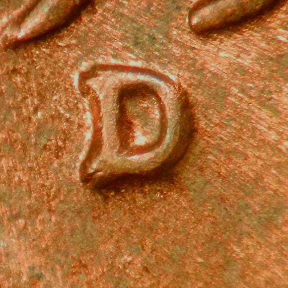 1955-D-1MM-020 Lincoln cent Repunched Mint Mark - Sel MS