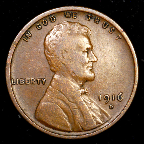 1916-D Lincoln Wheat cent - F