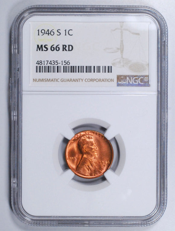 1946-S Lincoln Wheat cent - NGC MS66RD