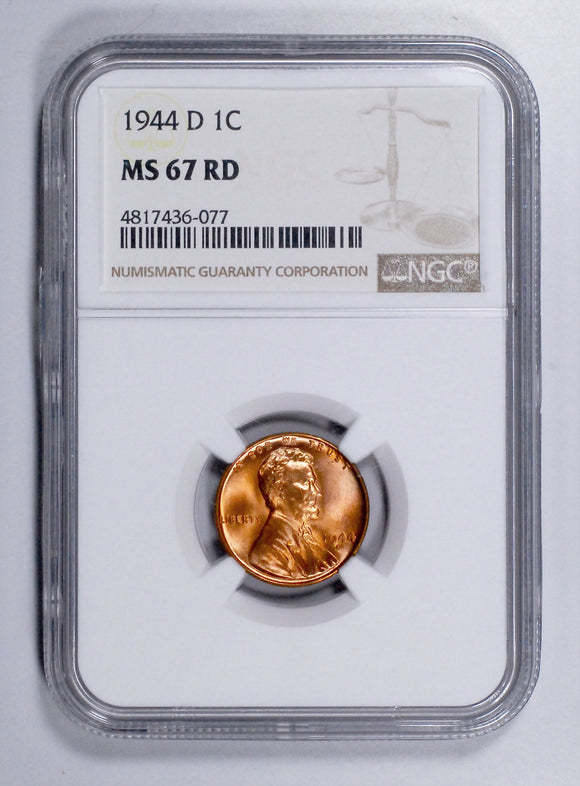 1944-D Lincoln Wheat cent - NGC MS67RD