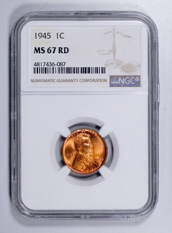 1945-P Lincoln Wheat cent - NGC MS67RD