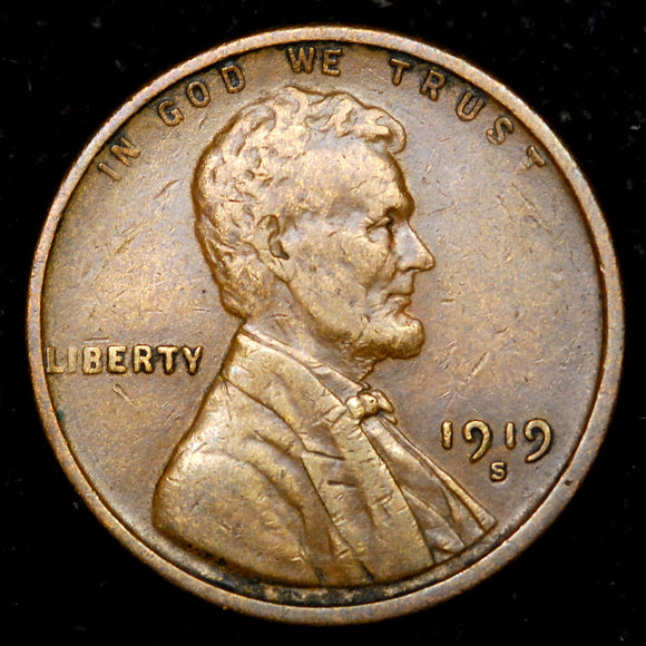 1919-S Lincoln Wheat cent - VF