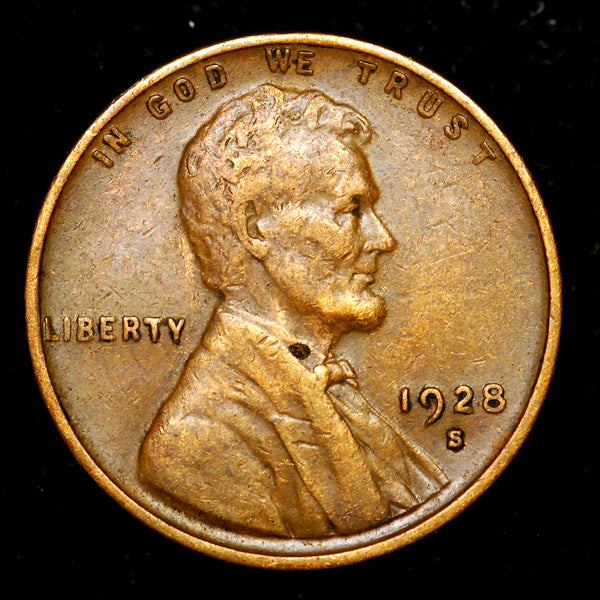 1928-S Small-S Lincoln Wheat cent - EF