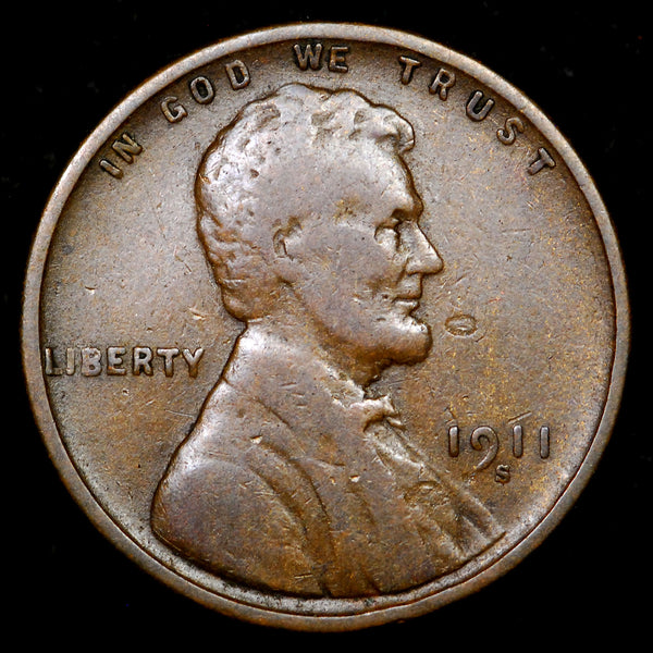 1911-S Lincoln Wheat cent - F+