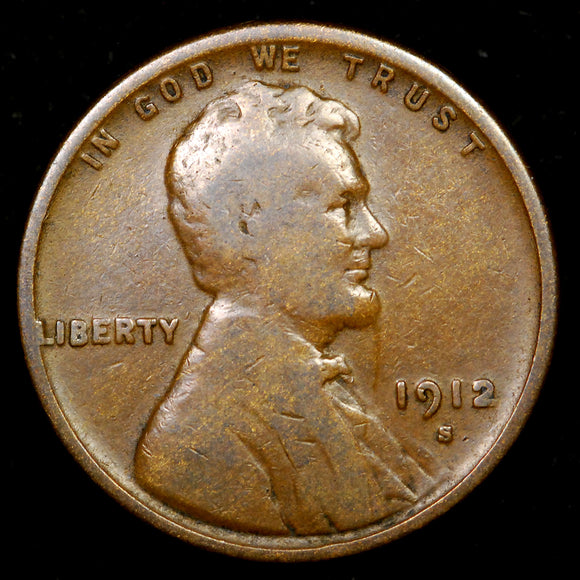 1912-S Lincoln Wheat cent - VG