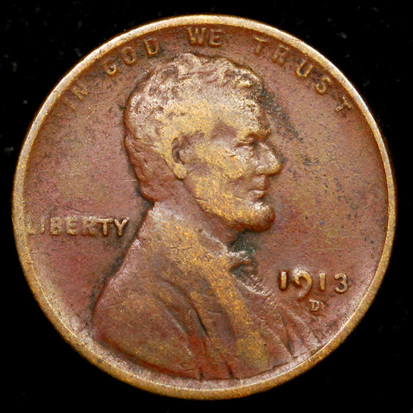 1913-D Lincoln Wheat cent - F+