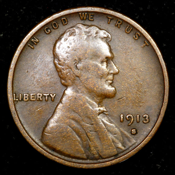 1913-S Lincoln Wheat cent - VF