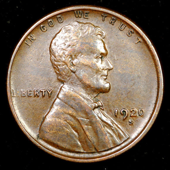 1920-S Lincoln Wheat cent - EF+