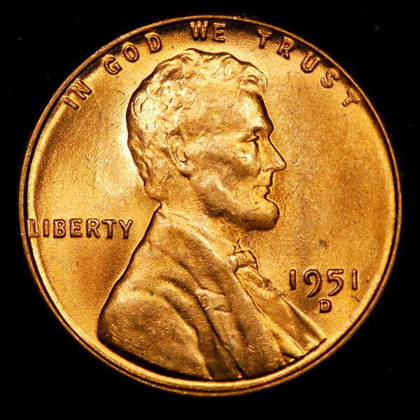 1951-D Lincoln Wheat cent - Ch-GEM BU
