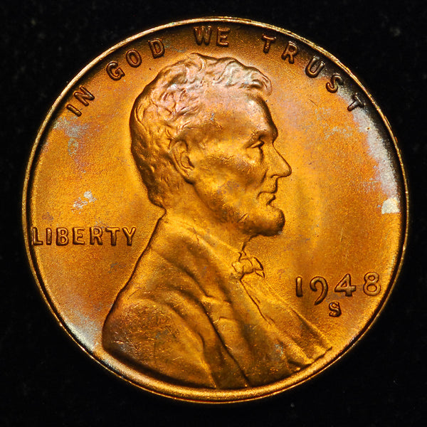 1948-S Lincoln Wheat cent - TONED! - GEM BU