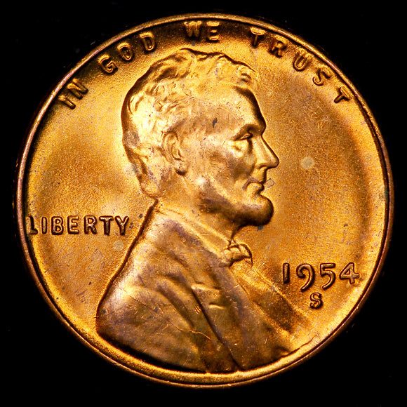 1954-S Lincoln Wheat cent - GEM BU