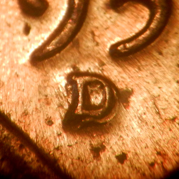 1959-D 1MM-001 Lincoln cent Repunched Mint Mark - Ch BU