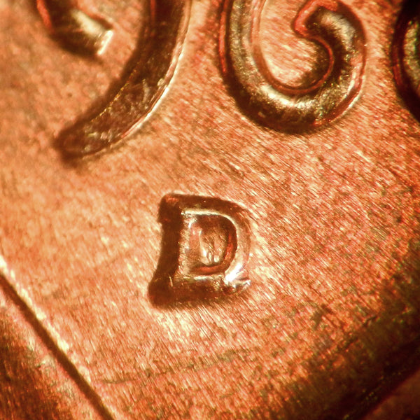 1960-D 1MM-024 Lincoln cent Repunched Mint Mark - GEM BU