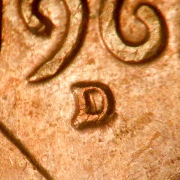 1961-D 1MM-023 Lincoln cent Repunched Mint Mark - Unc Details