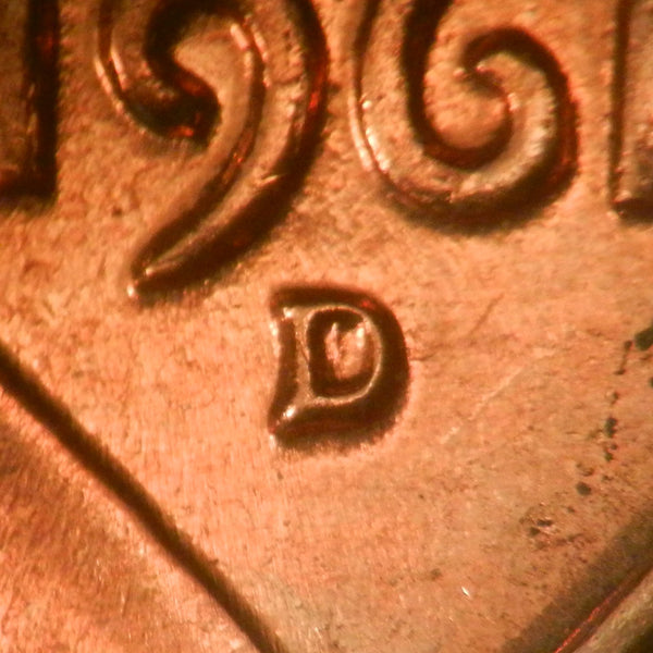 1961-D 1MM-035 Lincoln cent Repunched Mint Mark - Ch BU