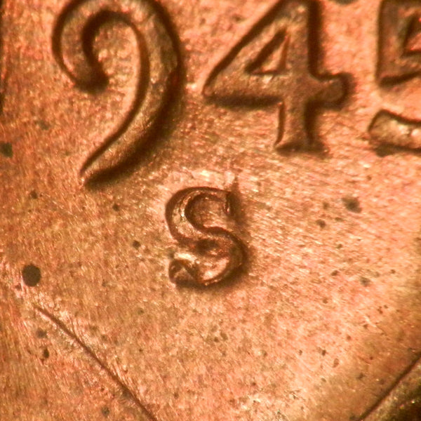 1945-S  1MM-023  Lincoln cent Repunched Mint Mark -  Ch-GEM MS