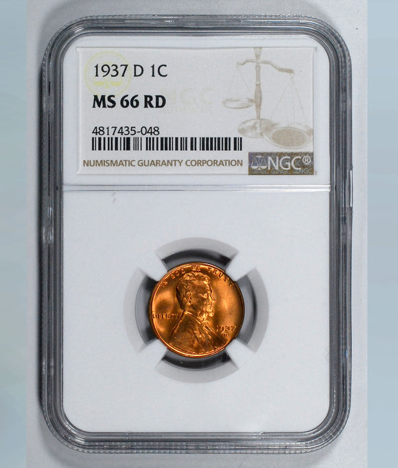 1937-D Lincoln Wheat cent - NGC MS66RD