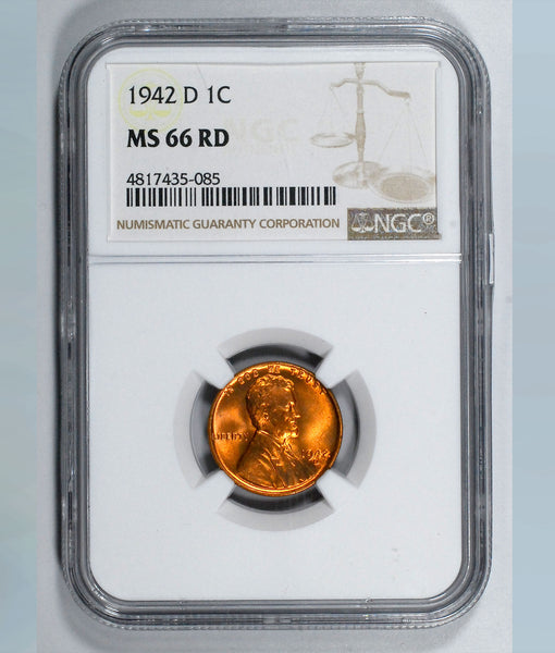 1942-D Lincoln Wheat cent - NGC MS66RD