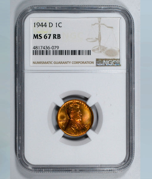 1944-D Lincoln Wheat cent - NGC MS67RB