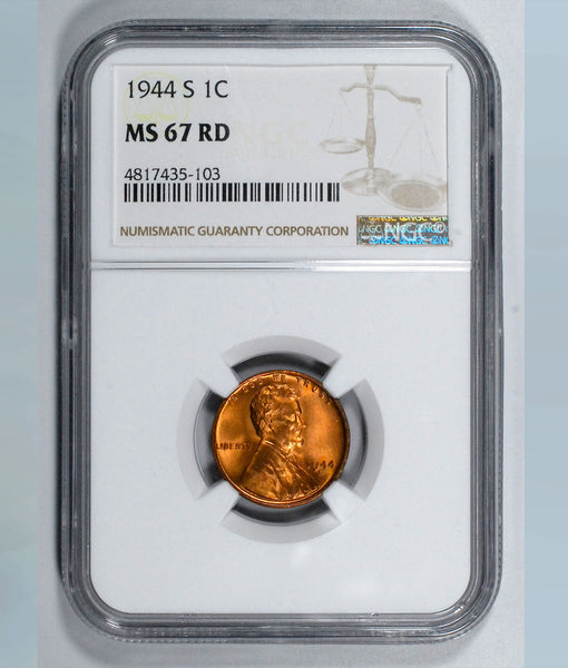 1944-S Lincoln Wheat cent - NGC MS67RD