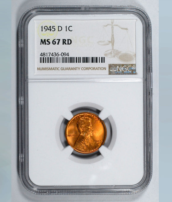 1945-D Lincoln Wheat cent - NGC MS67RD