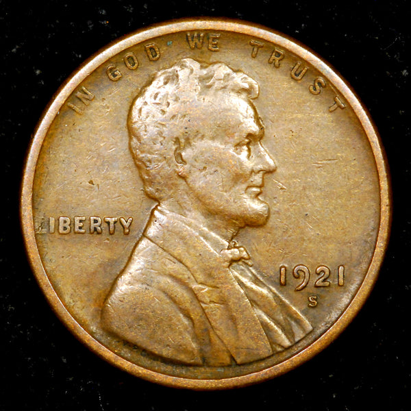 1921-S Lincoln Wheat cent VF