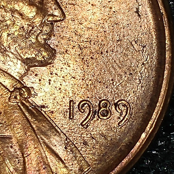 1989 P Lincoln Cent : Sel BU : Error : Centered Broadstruck