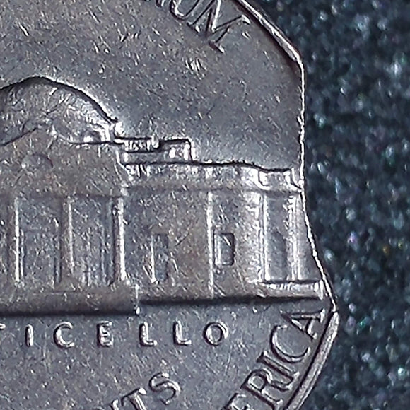 1964 D Jefferson Nickel : Ch BU : Error : Curved Clip