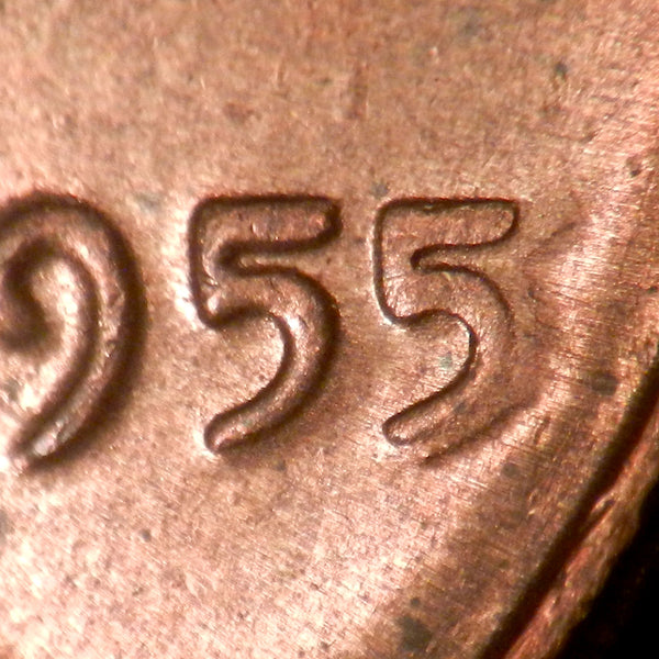 1955-P Lincoln Cent: BU Error Poor Mans Double