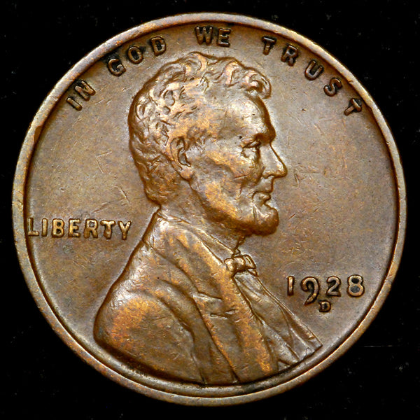 1928-D Lincoln cent : EF+