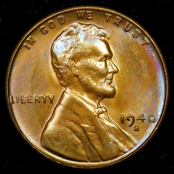 1940-S Lincoln cent : Ch-GEM MS - TONED