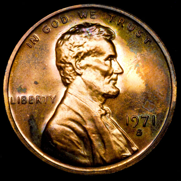 1971-S Lincoln cent : Ch Proof - TONED
