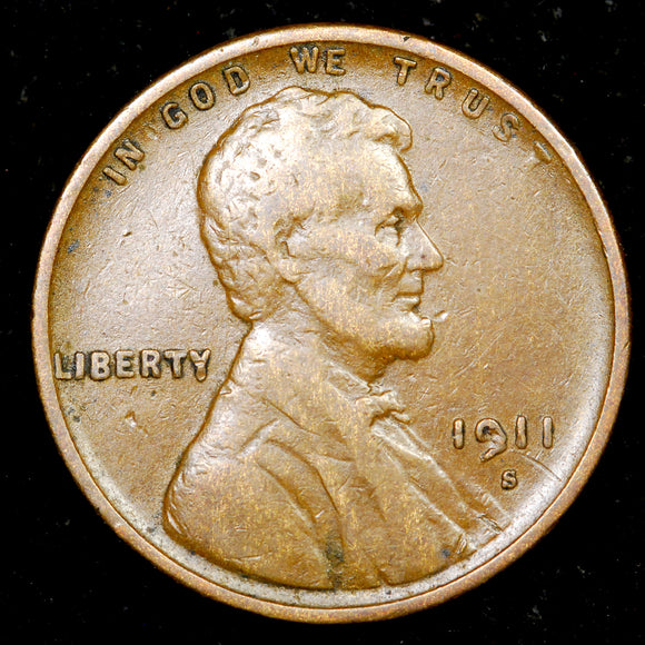 1911-S Lincoln Cent: VF