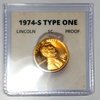 1974-S Lincoln Cent Proof Set of 2 coins (type 1 and type 2)