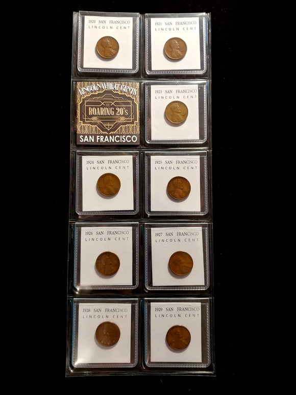 Roaring 20s in San Francisco - set of all 9 S-mint 1920's Lincoln cents F-VF+
