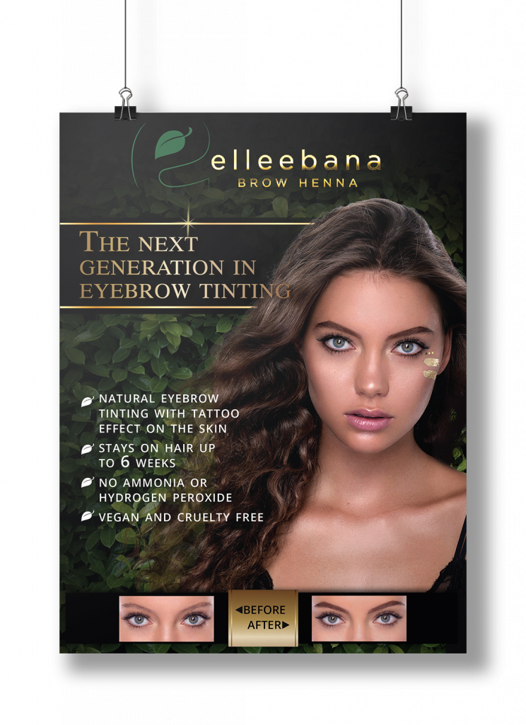 Elleebana Brow Henna Poster (3-pack)-Brow Henna-Fox River Spa Supply-Fox River Spa Supply