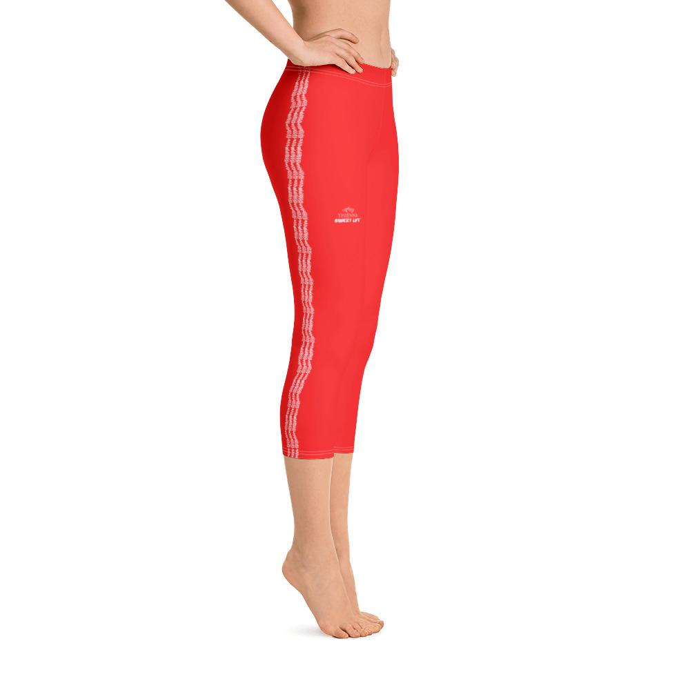 Bright Orange Red Capri Leggings (Solid Colors) - thiennas-sweet-life