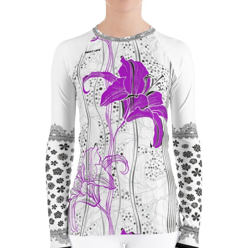 Lush Lily Flowers Women's Rash Guard T-Shirts - thiennas-sweet-life